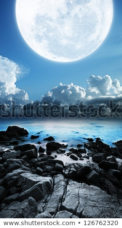 Full moon. Long exposure shot. Vertical panoramic composition. Stock photo © moses