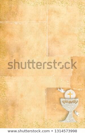 dove first holy communion, invitation card vertically Stock photo © marimorena