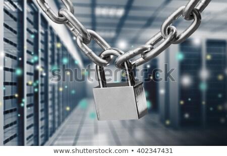 Kulcs zár zárolt lánc vágási körvonal biztonság Stock fotó © ozaiachin