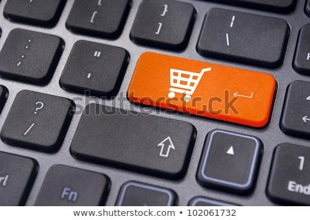 Bevásárlókocsi számítógép kulcs online internet vásárol Stock fotó © stevanovicigor
