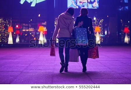 Zakupy noc dziewcząt Night City kobieta Zdjęcia stock © Aiel