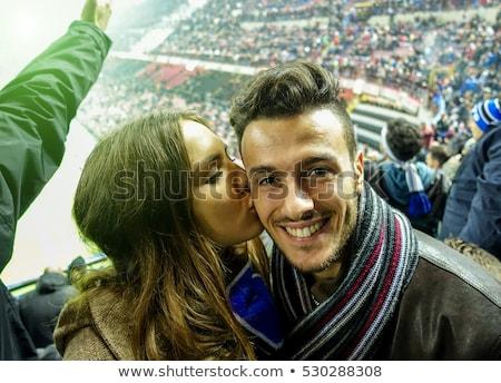 Paar italienisch Fußball Sport Flagge Porträt Stock foto © photography33