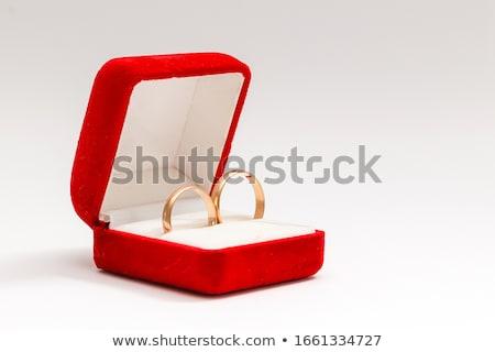 Dois anéis de casamento caixa caixa de presente casamento metal Foto stock © pixachi
