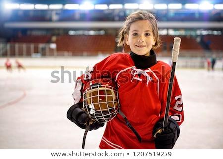 lány · jégkorong · játékos · gyermek · tél · portré - stock fotó © zzve