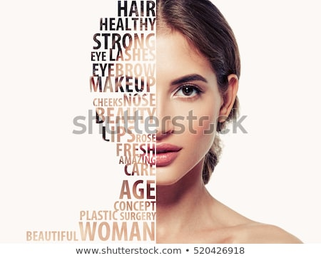 yarım · yüz · portre · genç · kadın · halka - stok fotoğraf © dolgachov