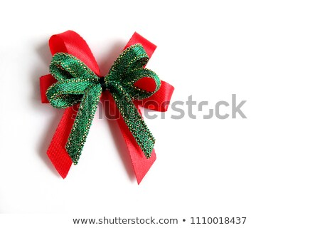White Gift Box with Green Ribbon and Bow on the White Background Stock photo © maxpro