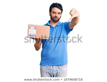 para · baixo · azul · mão · negócio - foto stock © 805promo