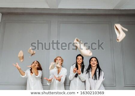Dört moda kızlar ayakkabı yalıtılmış Stok fotoğraf © AndreyPopov