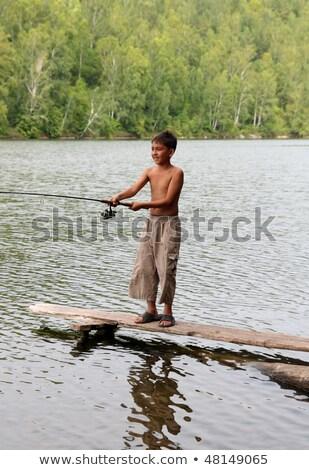 erkek · balık · tutma · erkekler · plaj · balık · göl - stok fotoğraf © mikko