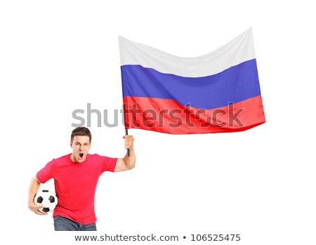 Russia flag. Man holding banner with Russian Flag. Stock photo © stevanovicigor