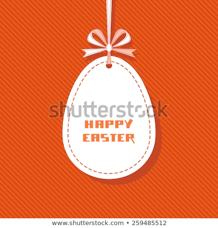 easter retro card with paper eggs and ribbon for greeting stock photo © heliburcka