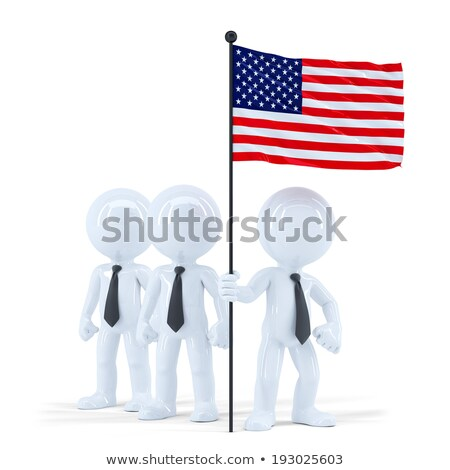 business team holding flag of usa isolated contains clipping path stock photo © kirill_m
