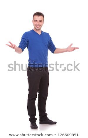 full body picture of a young casual man welcoming Stock photo © feedough