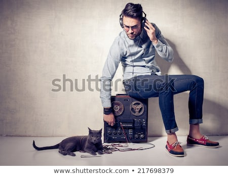 young man with stereo player stock photo © miklav