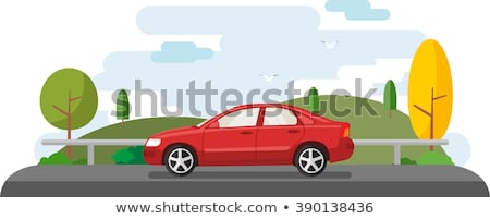 красный автомобилей седан дороги спорт модель Сток-фото © leonido