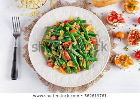 ブルスケッタ サヤインゲン ヤギ乳チーズ 緑 パン 健康 ストックフォト © zoryanchik