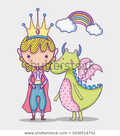 Mały cute princess smoka domu miasta Zdjęcia stock © carodi