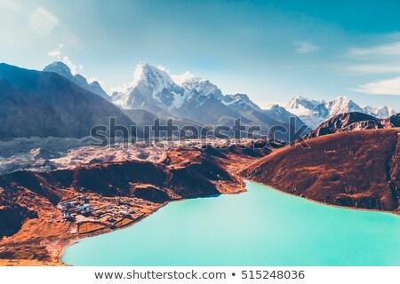 Himalayas gletsjer meer bergen najaar landschap Stockfoto © blasbike