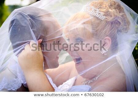 ślub miłości charakter para funny czarno-białe Zdjęcia stock © adrenalina