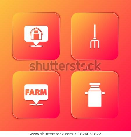 House Equipments Square Vector Orange Icon Design Set Stock photo © rizwanali3d