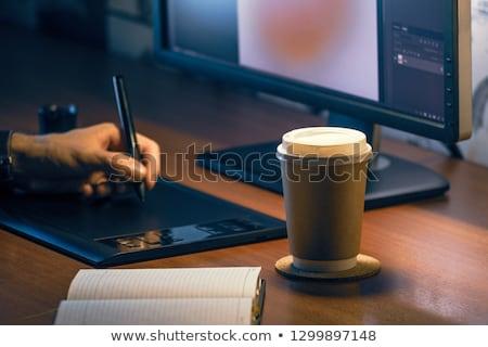 Graphic designer tabletop workspace Stock photo © stevanovicigor