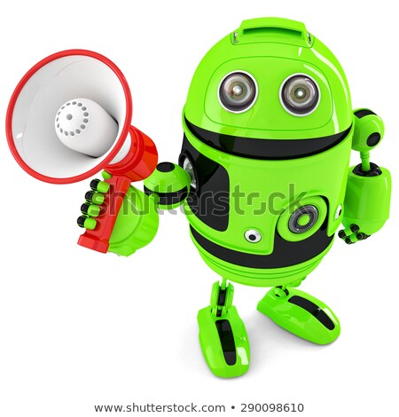 Green robot shouting into bullhorn. Isolated. Contains clipping path Stock photo © Kirill_M