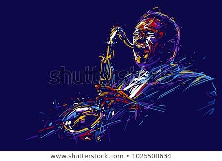 Afrikai férfi mosolyog zenész játszik szaxofon Stock fotó © RAStudio