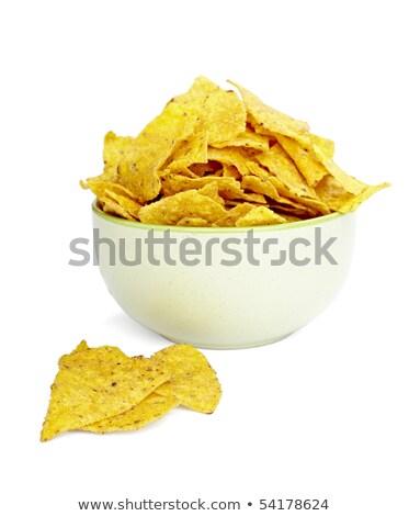 Nachos sültkrumpli tál közelkép fehér étel Stock fotó © ozaiachin