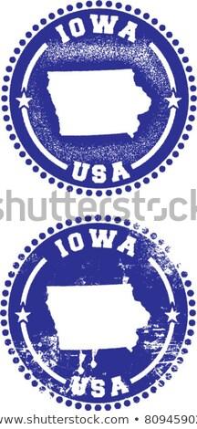 Gumi tinta bélyeg Iowa szöveg Stock fotó © Bigalbaloo