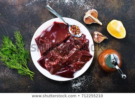 Stukken vers ruw rundvlees lever witte Stockfoto © mcherevan