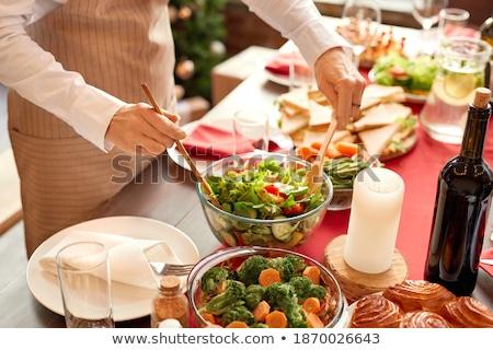 Tafelgerei diner valentijnsdag platen bestek champagne Stockfoto © neirfy