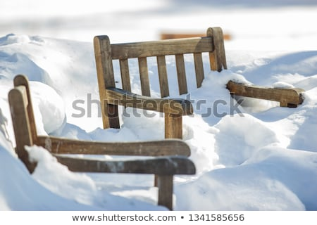 Outdoors garden chair buried in snow drift Stock photo © backyardproductions