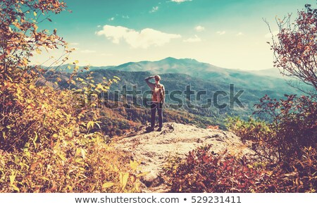 Young backpacker standing on a mountain lookout Stock photo © dash