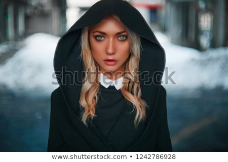 cute blonde in vampire look stock photo © konradbak