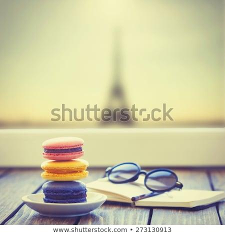 Macarons мало ноутбук деревянный стол весны свадьба Сток-фото © Massonforstock