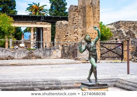 dancing faun statue house of the faun pompeii stock photo © meinzahn