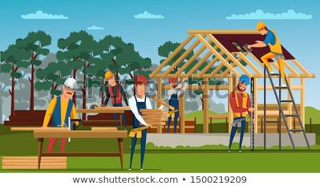 Stockfoto: Gebouw · dak · bouwplaats · teamwerk · man · werk