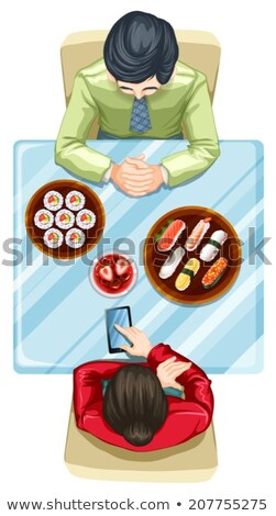 Zwei Personen Essen Sushi Illustration weiß Hintergrund Stock foto © bluering