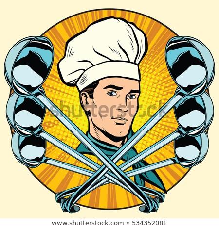 Cocinar estilizado arte pop retro icono vector Foto stock © studiostoks