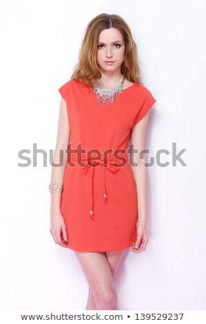 привлекательная · девушка · Smart · платье · красный · довольно · босиком - Сток-фото © bezikus