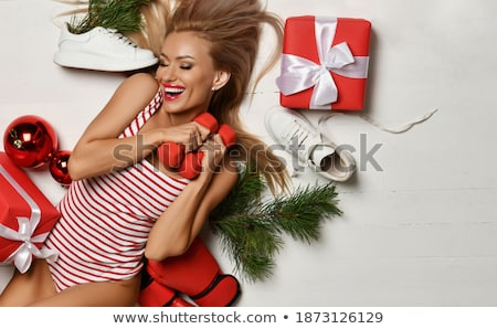 sporty woman with red barbells stock photo © nobilior