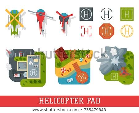 śmigłowca lądowanie ziemi ilustracja graficzne skał Zdjęcia stock © bluering