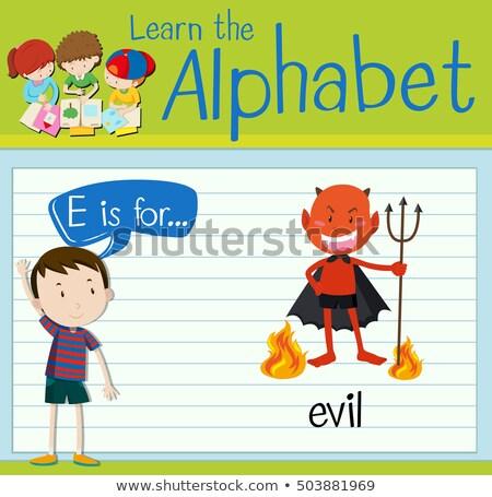 Stock photo: Flashcard alphabet E is for evil