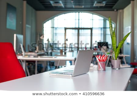 Laptop computer on working place desk stock photo © jordanrusev