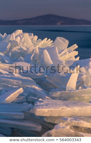 A lot of iceblocks on each other in Lake Balaton Stock photo © digoarpi