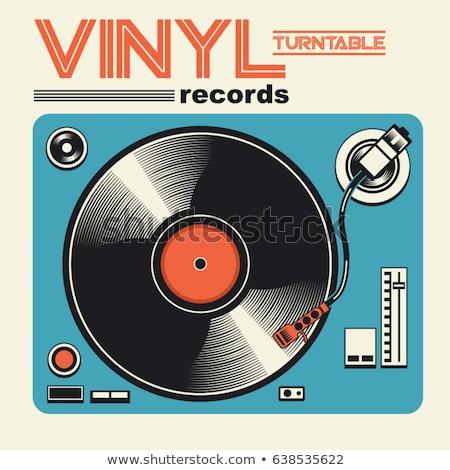 Vinyl record sjabloon Rood label ontwerp Stockfoto © biv