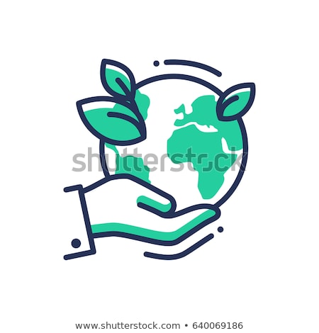 Stock photo: Green Earth - modern vector single line icon