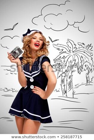 vintage · marynarz · dziewczyna · retro · Fotografia · czarujący - zdjęcia stock © fisher