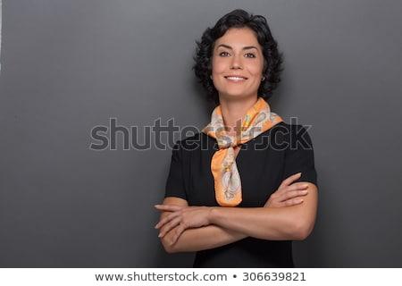 портрет · счастливым · молодые · официант · изолированный · белый - Сток-фото © andreypopov