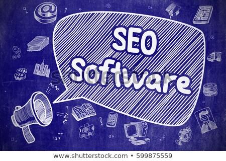 Seo szoftver kézzel rajzolt illusztráció kék tábla Stock fotó © tashatuvango